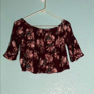Burgundy Floral Off the Shoulder Top